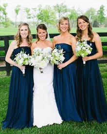 Navy Blue Strapless A-Line Floor Length Bridesmaid Gown With Open Back