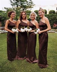 Elegant Seal Brown One Shoulder Floor Length Sheath Bridesmaid Dress