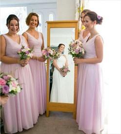 Light Pink Sleeveless V-Neck A-Line Ruched Chiffon Bridesmaid Dress