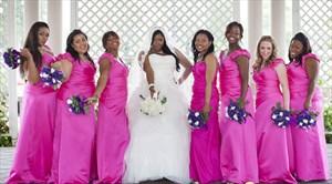 Hot Pink V-Neck Embellished Cap Sleeve Floor Length Bridesmaid Dress