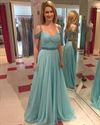 Light Blue Floor Length Chiffon Dress With Beaded Detail And Straps