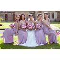 Lilac A-Line Long Chiffon Bridesmaid Dress With Flower Spaghetti Strap