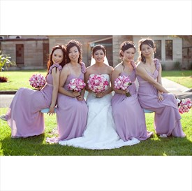 Lilac A-Line Long Chiffon Bridesmaid Dress With Flower Spaghetti Strap