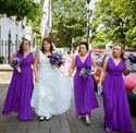 Violet A-Line V-Neck Sleeveless Chiffon Bridesmaid Dress With Flower