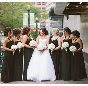 Black Strapless Sweetheart A-Line Floor-Length Chiffon Bridesmaid Gown