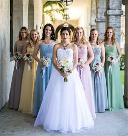 Floor Length Strapless Pleated Bodice A-Line Chiffon Bridesmaid Dress