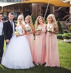 Blush Pink Backless A-Line Chiffon Bridesmaid Gown With Beaded Halter
