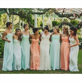 Mint Strapless Long A-Line Chiffon Bridesmaid Dress With Ruched Bodice