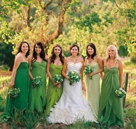 Green Strapless A Line Crinkle Cascade Chiffon Long Bridesmaid Dress