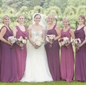 Sleeveless Ruched Chiffon Bridesmaid Dress With Front Cowl Neckline