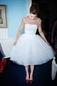 White Sleeveless Tea Length Tulle Wedding Dress With Illusion Neckline