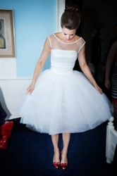 White Sleeveless Tea Length Tulle Wedding Dress With Illusion Neckline
