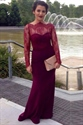 Elegant Burgundy Illusion Lace Long Sleeve Sheath Mermaid Prom Dress