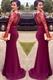 Elegant Burgundy Illusion Lace Long Sleeve Sheath Mermaid Prom Dress