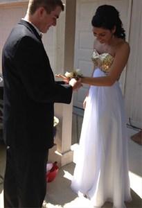 Strapless Sequin Bodice White Floor Length Chiffon Bridesmaid Dress