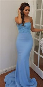 Sky Blue Spaghetti Strap Lace Bodice Floor-Length Mermaid Evening Gown