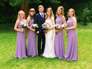 Violet Sleeveless Lace Bodice Floor Length Chiffon Bridesmaid Dress