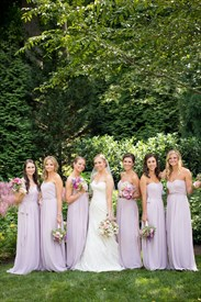 Lilac Strapless Floor Length A-Line Chiffon Bridesmaid Dress With Belt