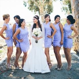 Beautiful Lavender Sleeveless Lace Short Sheath Bridesmaid Mini Dress