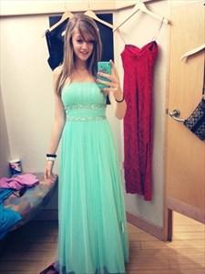 Mint Green Strapless Beaded Empire Waist Long Chiffon Bridesmaid Dress