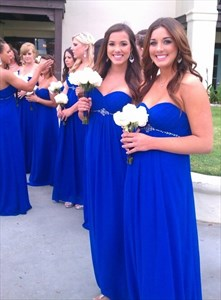 Royal Blue Strapless Empire Waist Chiffon Bridesmaid Gown With Beading