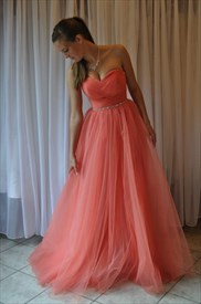Coral Strapless Sweetheart Beaded Waist Floor-Length Tulle Ball Gown