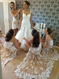 Strapless Short Lace Embellished High Low Bridesmaid Dress With Train