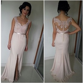 Sleeveless Sweetheart Lace Bodice Long Chiffon Prom Dress With Slits