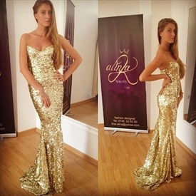 Strapless Gold Sequin Sheath Mermaid Bridesmaid Dress With Open Back