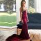 Elegant Burgundy Strapless Mermaid Prom Dress With Beaded Neckline