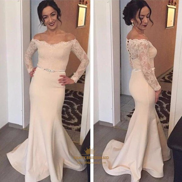 Off The Shoulder Lace Long Sleeve Floor Length Mermaid Evening Dress