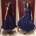 Ankle Length Sleeveless Navy Blue Homecoming Dress With Lace Bodice