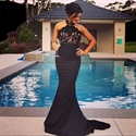 Black Halter Neck Lace Embellished Floor Length Mermaid Evening Dress