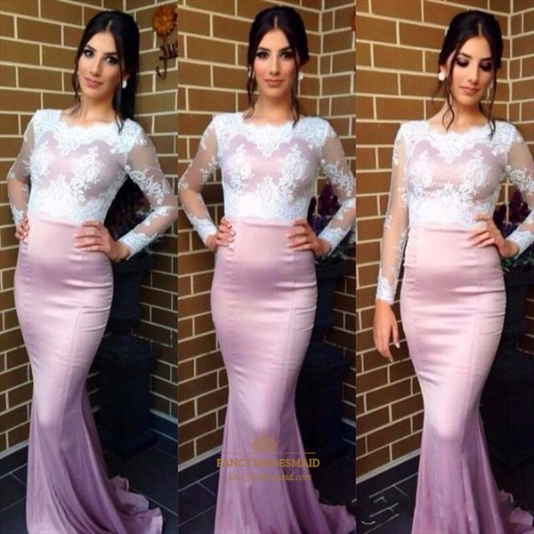 Elegant Lilac Long Sleeve Mermaid Evening Dress With Sheer Lace Bodice