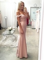 Light Pink Off The Shoulder Lace Embellished Mermaid Bridesmaid Dress