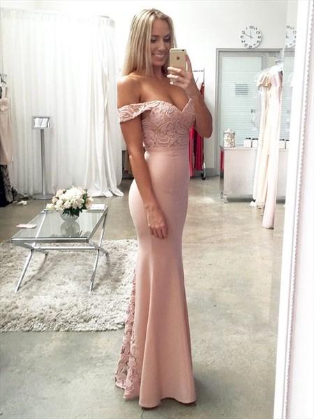Light Pink Off The Shoulder Lace Embellished Mermaid Bridesmaid Dress