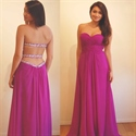 Strapless A-Line Chiffon Long Bridesmaid Dress With Beaded Open Back