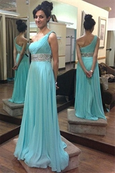 Turquoise Beaded Waist One Shoulder A-Line Chiffon Bridesmaid Dress
