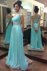 Turquoise Beaded Waist One Shoulder A-Line Chiffon Bridesmaid Dress