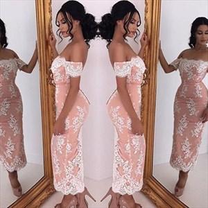 Pink Off The Shoulder Lace Embellished Ankle Length Sheath Prom Dress