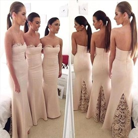 Simple Strapless Floor Length Mermaid Bridesmaid Gown With Lace Detail