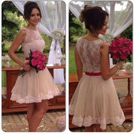 Knee Length Sleeveless A-Line Lace Embellished Tulle Bridesmaid Dress