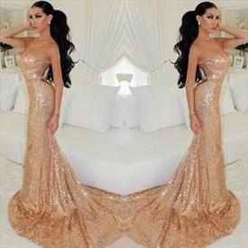 Champagne Strapless Sweetheart Sequin Mermaid Floor Length Prom Dress