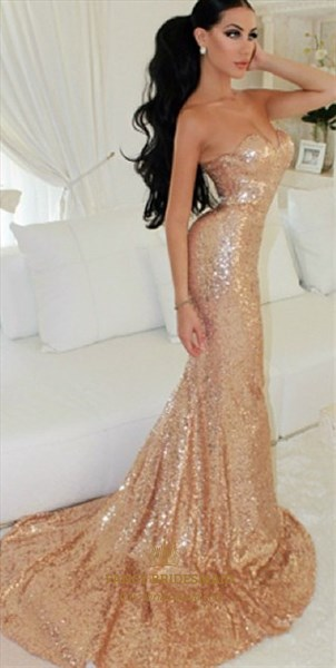 Champagne Strapless Sweetheart Sequin Mermaid Floor Length Prom Dress