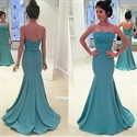 Strapless Lace Bodice Floor Length Satin Mermaid Dress With Open Back