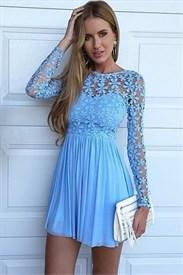 Lace Bodice Long Sleeve Chiffon Skirt Knee Length Homecoming Dress