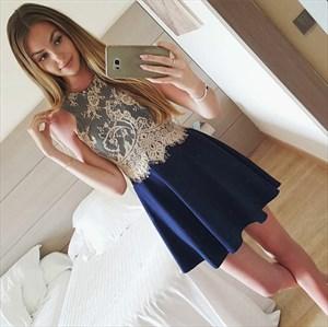 Navy Blue Short Sleeveless Chiffon Homecoming Dress With Lace Bodice