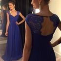 Royal Blue Sweetheart Cap-Sleeve Keyhole Back Chiffon Bridesmaid Dress
