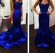 Simple Floor-Length Royal Blue Strapless Sweetheart Mermaid Prom Dress