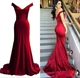 Red Off The Shoulder Sheath Mermaid Long Evening Dress With Open Back